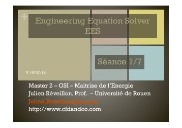 Engineering Equation Solver EES Séance 1/7 - CFD & Co