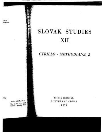 SLOVAK STUDIES - Columbia University