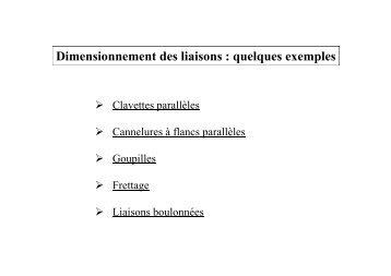 Dimensionnement des liaisons : quelques exemples