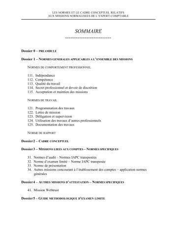 Les Missions Normalisées de l'Expert-Comptable - Ordre des ...