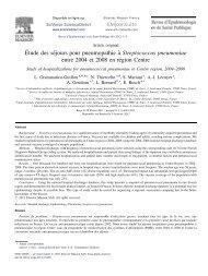 Étude des séjours pour pneumopathie à Streptococcus pneumoniae ...