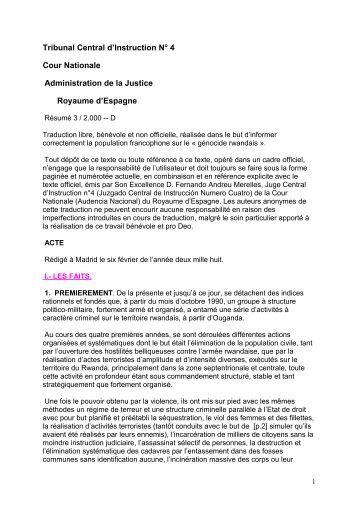 L'acte d'accusation des 40 militaires du FPR par un juge espagnol.