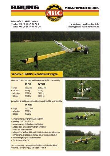 Variabler BRUNS Schneidwerkwagen MASCHINENFABRIK