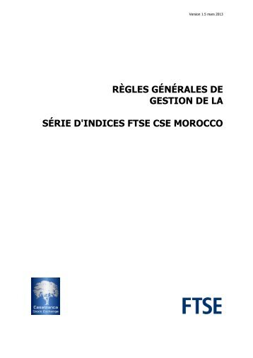 FTSE CSE Morocco Index Series Ground Rules v1.5 - FRx