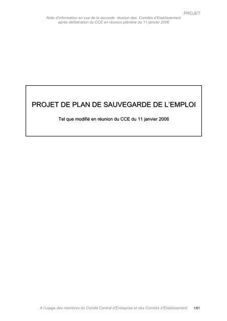 Projet De Plan De Sauvegarde De L Emploi Cftc Manpower