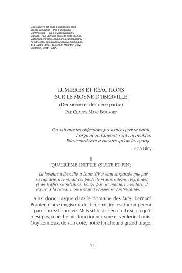 lumières et réactions sur le moyne d'iberville - Claude Marc Bourget