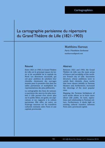 Cartographie parisienne du répertoire lillois - ARTL@S