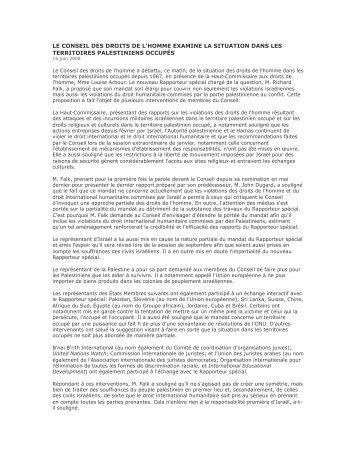 le conseil des droits de l'homme examine la situation ... - UNISPAL