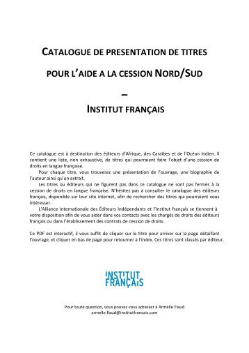 catalogue de titres disponibles - Institut francais