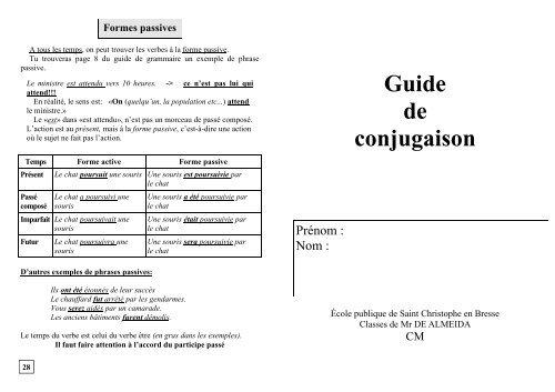 Guide Conjugaison Les Cm De Saint Christophe En Bresse