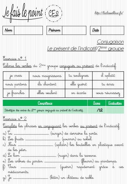 Le Present De L Indicatif 2eme Et 3eme Groupes Laclassebleue