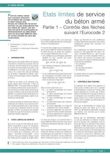 Etats limites de service du béton armé. Partie 1 – Contrôle ... - CSTC