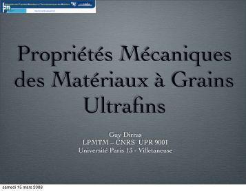Propriétés mécaniques des matériaux à grains ultrafins: un ... - IM2NP