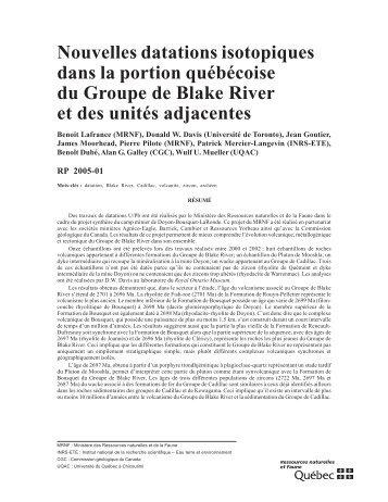 Nouvelles datations isotopiques dans la portion québécoise du ...