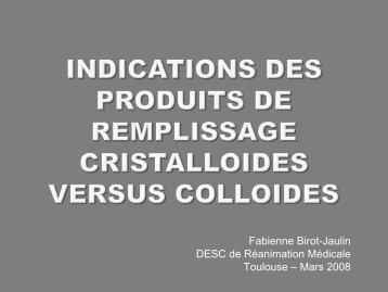 INDICATIONS DES PRODUITS DE REMPLISSAGE ...