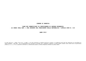 albo contributi e sussidi anno 2012 - Comune di Brescia