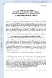 Humanisme Juridique et Science du Droit au XV Siècle