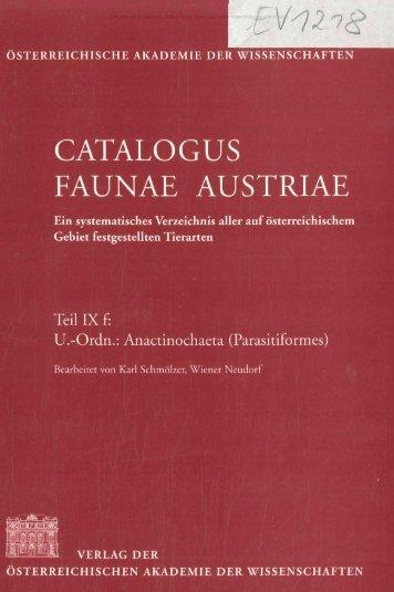 V12 CATALOGUS FAUNAE AUSTRIAE