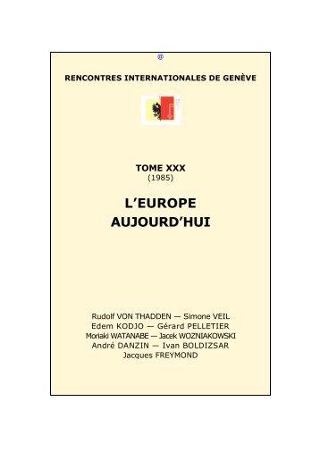 L'Europe aujourd'hui - Rencontres Internationales de Genève
