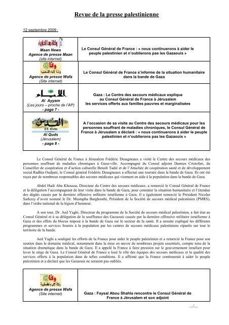 Revue de presse visite CG à Gaza - Consulat Général de France à ...
