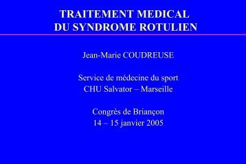 reeducation : syndrome rotulien
