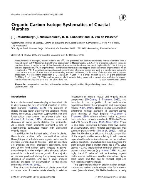 Organic Carbon Isotope Systematics of Coastal Marshes