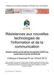 Résistances aux nouvelles technologies de l'information et de la ...