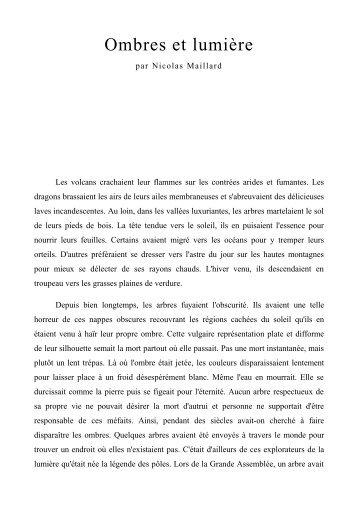 Ombres et lumière - Nicolas Maillard