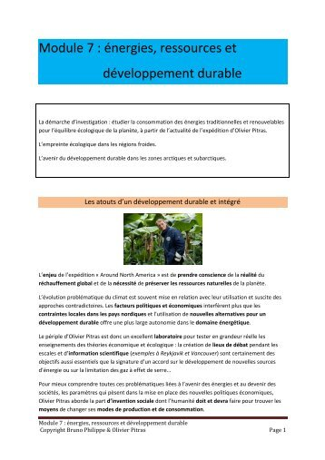 Module 7 : énergies, ressources et développement durable - 69 Nord