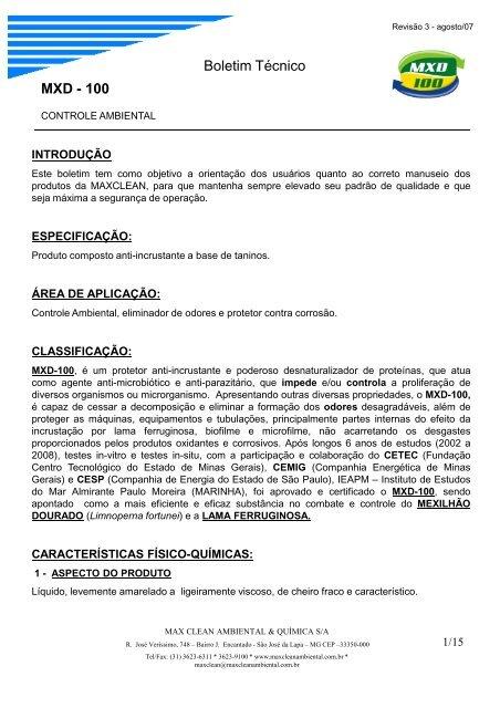 9277553f890 BOLETIM TÉCNICO MXD 100 - UFMG