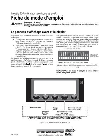 Fiche de mode d'emploi - Rice Lake Weighing Systems