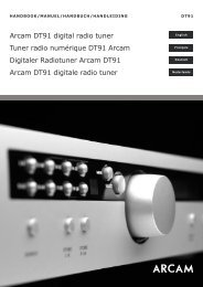 Download the owners manual - Arcam