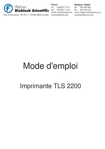 Mode d'emploi - IMPRIMANTE TLS 2200 - Fisher UK Extranet