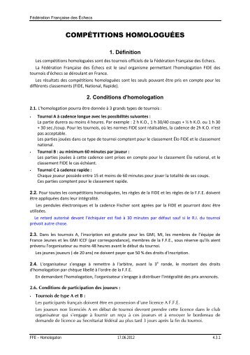 COMPÉTITIONS HOMOLOGUÉES - Fédération Française des Échecs