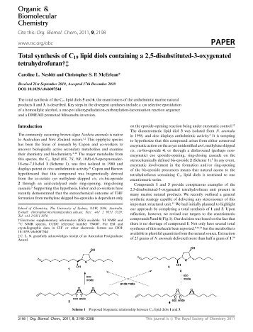 Total synthesis of C19 lipid diols containing a 2,5-disubstituted-3 ...