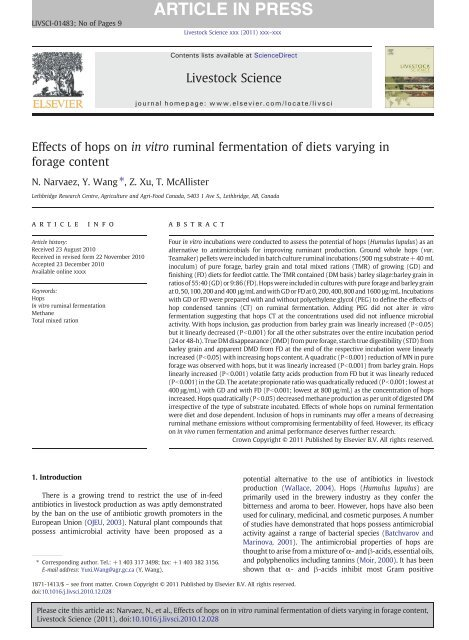 Effects of hops on in vitro ruminal fermentation of diets ... - USA Hops
