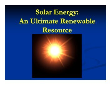Solar Energy: An Ultimate Renewable Resource - 123SeminarsOnly