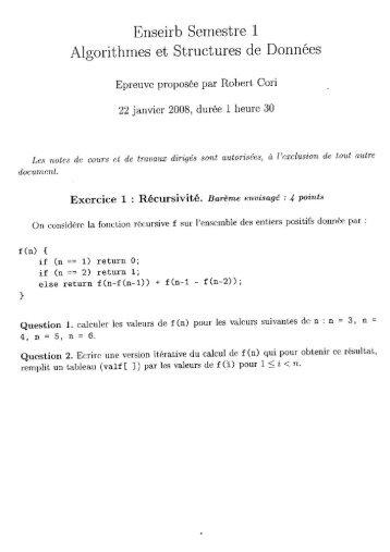 Enseirb Semestre 1 Algorithmes et Structures de Données - de l'eirb
