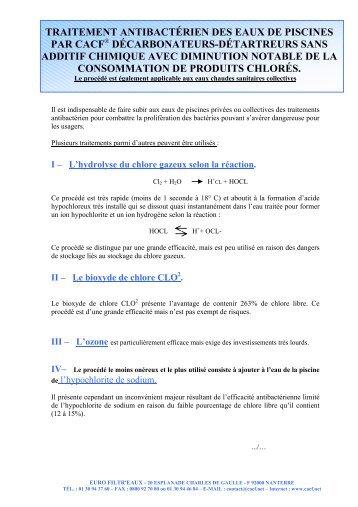 traitement antibactérien des eaux de piscines par cacf - Cacf.net