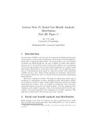 Lecture Note 15: Social Cost Benefit Analysis - University of ...
