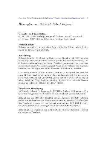 Biographie von Friedrich Robert Helmert