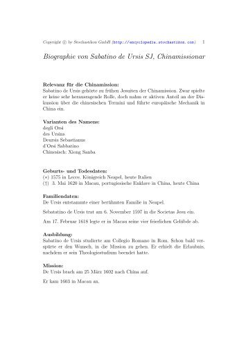 Biographie von Sabatino de Ursis SJ, Chinamissionar
