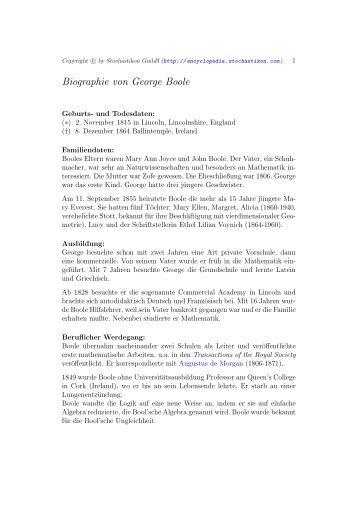 Biographie von George Boole