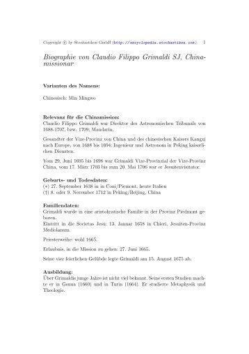 Biographie von Claudio Filippo Grimaldi SJ, China- missionar