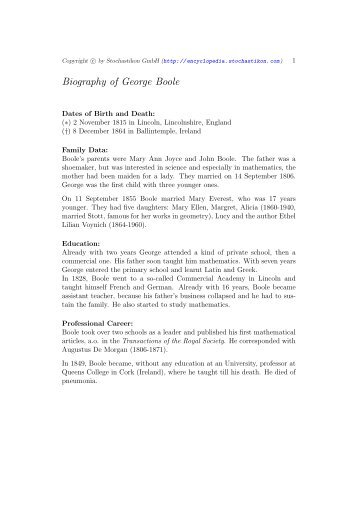 Biography of George Boole