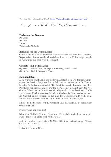 Biographie von Giulio Aleni SJ, Chinamissionar