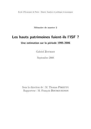 Les hauts patrimoines fuient-ils l'ISF? - texte intégral - Ens