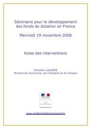 Actes du séminaire pour le développement des fonds de dotation en ...