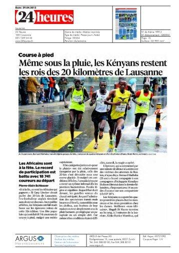 24heures - les Kényans restent les rois des 20 km - 20 km de ...