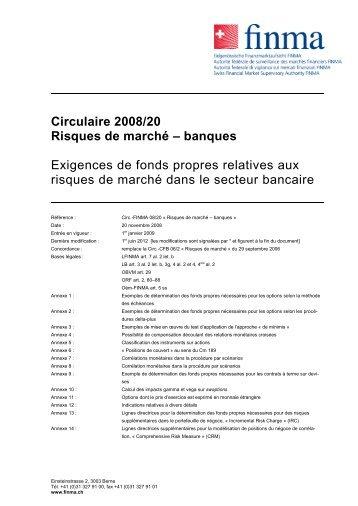 Circulaire 2008/20 Risques de marché – banques Exigences de ...